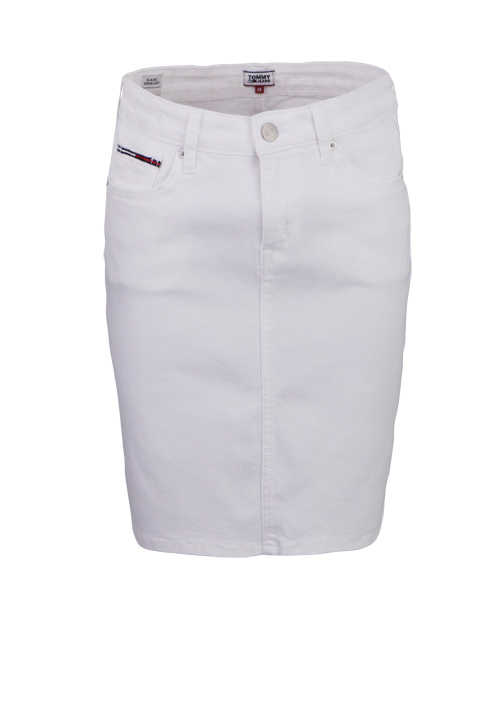 TOMMY JEANS Midi Jeansrock 5 Pocket Stretch weiß