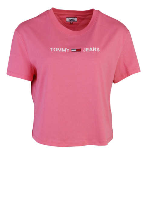 TOMMY JEANS Rundhals Shirt Kurzarm Cropped Oversize pink