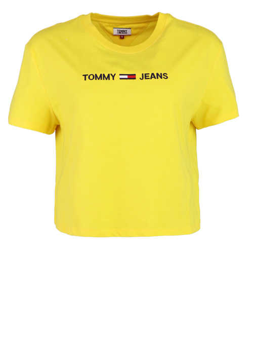 TOMMY JEANS Rundhals Shirt Kurzarm Cropped Oversize sonnengelb