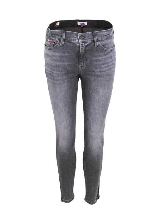 TOMMY JEANS Skinny Jeans Used Zipper  5 Pocket mittelgrau
