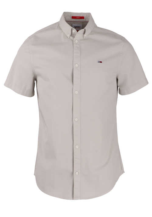 TOMMY JEANS Slim Fit Hemd Halbarm Button Down Kragen hellgrau