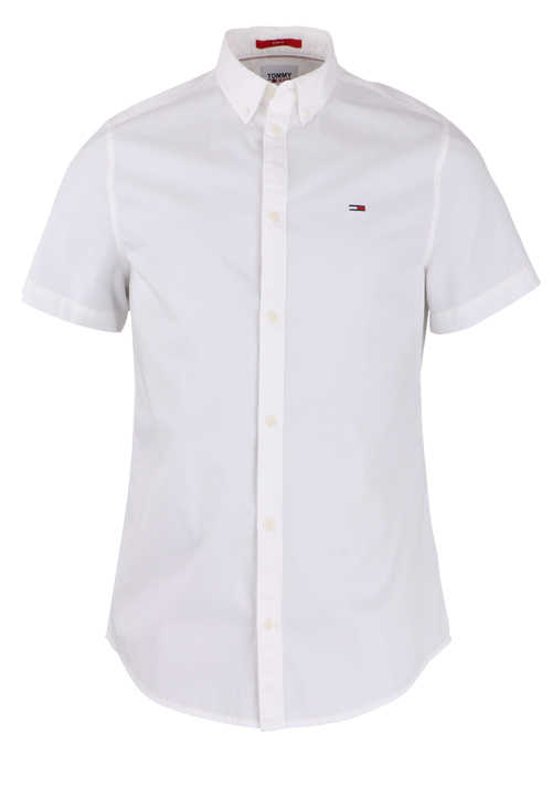 TOMMY JEANS Slim Fit Hemd Halbarm Button Down Kragen weiß