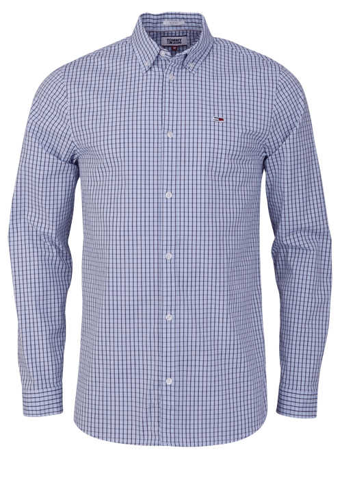 TOMMY JEANS Slim Fit Hemd Langarm Button Down Multikaro hellblau