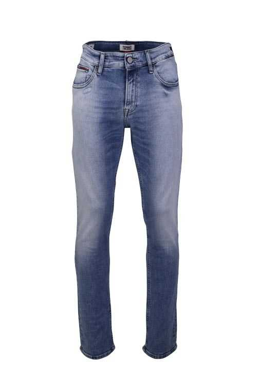 TOMMY JEANS Slim Fit Jeans SCANTON Used 5 Pocket Stretch hellblau