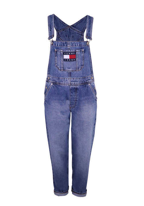 TOMMY JEANS Straight Latzhose Used Umschlag mittelblau