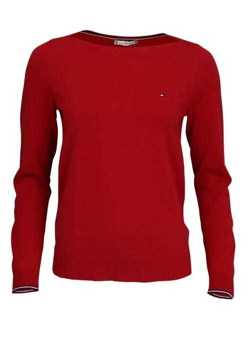 TOMMY HILFIGER Langarm Pullover NEW IVY Rundhals Strick rot