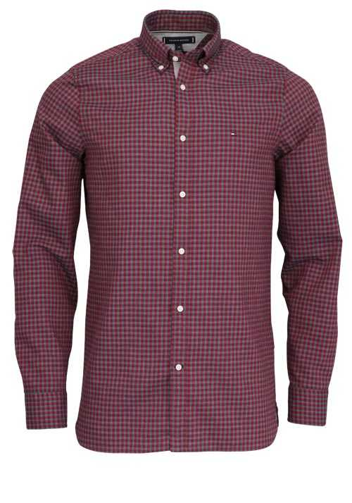 TOMMY HILFIGER Slim Fit Hemd Langarm Button-Down-Kragen Karo rot