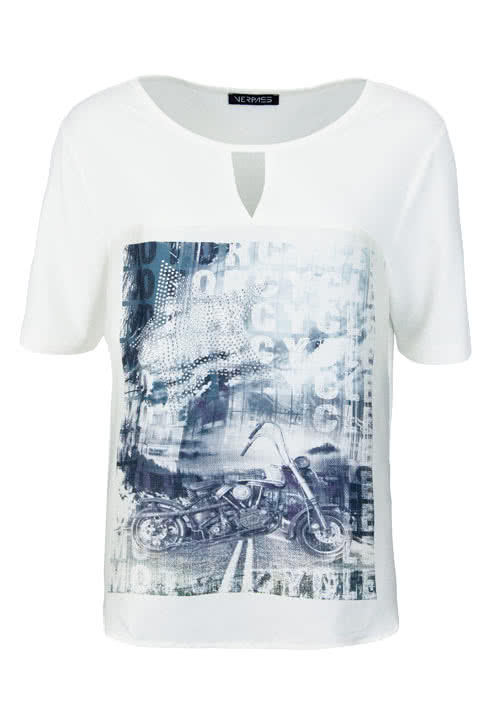 VERPASS Kurzarm T-Shirt Rundhals Statement-Print Materialmix ecru